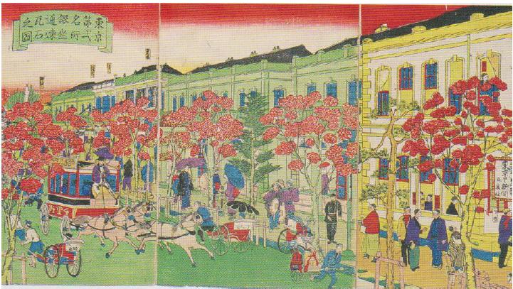 Figure 1: (Illustration of Ginza brickstone in Tokyo No. 2 Landmarks) Hiroshige (3rd) 1874