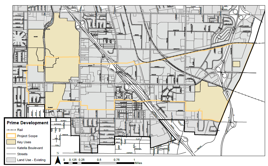 Figure 1.1 – 1: The approximate focus of the corridor plan is between the Disneyland Resort to the west, and the eastern city limits along the Santa Ana River.