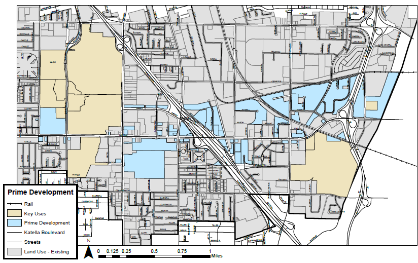 Figure 2.1 – 1: Opportunities for new development can be found along the entire length of Katella; a concentration of such parcels can be found at industrial areas in the Platinum Triangle area.