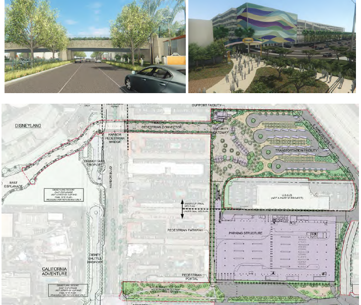 Figure 2.3 – 2: The new Disneyland Resort parking structure will be built at the intersection of Disney Way and Clementine Street, with direct access from the northbound 5 Freeway. Guests will access the theme parks via a pedestrian bridge spanning Harbor Boulevard. (Pimentel, 2016).