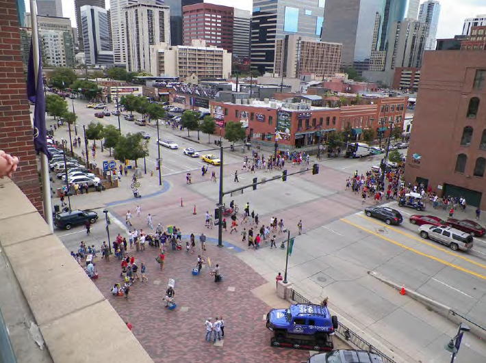 Figure 3.3 – 1: Denver's emphasis on walkability in its Lower Downtown are manifested in wide sidewalks, at-grade crossings, short blocks, and various other pedestrian amenities.