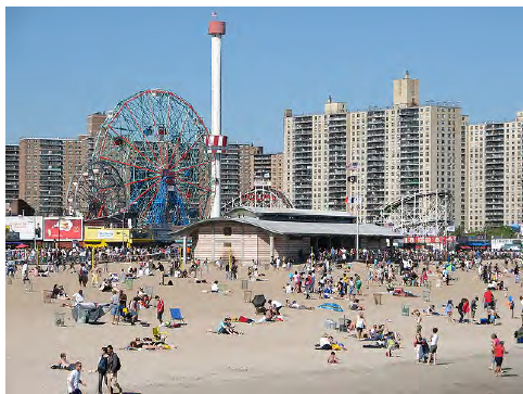 Figure 3.4 – 2: Coney Island progresses quickly from beachfront, amusement park, and commercial activity, to high density residential. This is a rare, albeit strong example of residences being directly adjacent to entertainment and recreation land uses.