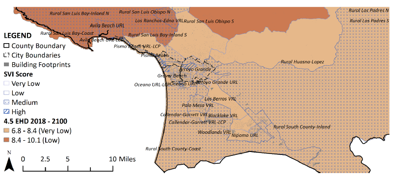 Figure 4.8: Area of Medium and High SVI in San Luis Bay Coastal, South County Coastal, and South County Inland Planning Areas.