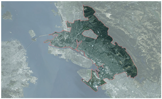 map of Oakland with city limits