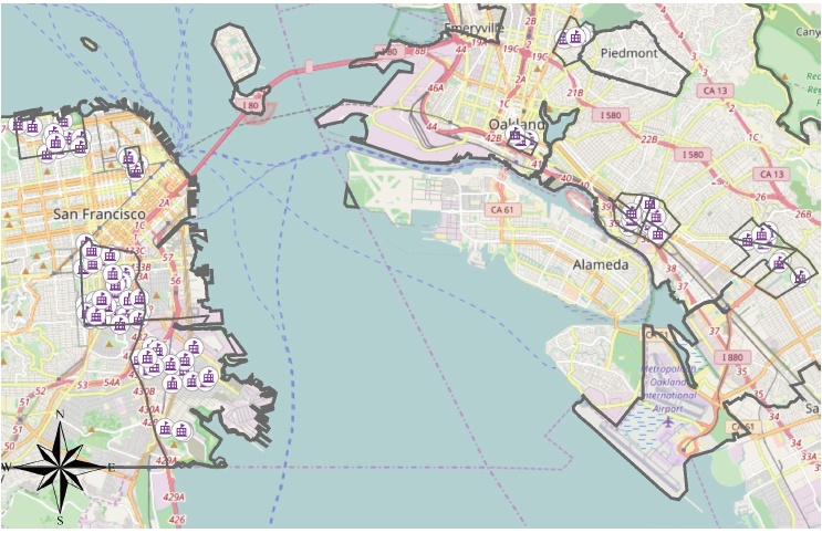 Map of schools in San Francisco and Oakland by neighborhood
